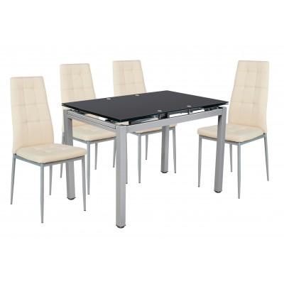 Σετ τραπέζι επεκτεινόμενο Μαύρο με 4 καρέκλες Μπεζ PU XS25 ΣΕΤ ΤΡΑΠΕΖΙ+ΚΑΡΕΚΛΕΣ , insidehome.gr