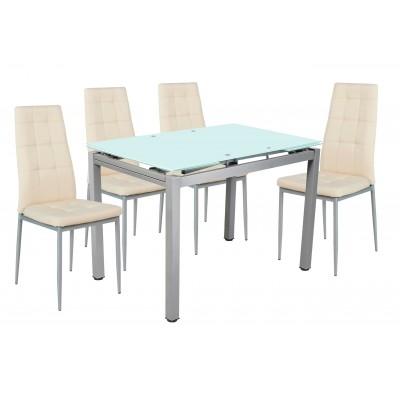 Σετ τραπέζι επεκτεινόμενο αμμοβολή με 4 καρέκλες Μπεζ PU XS25 ΣΕΤ ΤΡΑΠΕΖΙ+ΚΑΡΕΚΛΕΣ , insidehome.gr