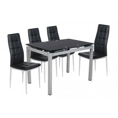 Σετ τραπέζι επεκτεινόμενο Μαύρο με 4 καρέκλες Μαύρο PU XS25 ΣΕΤ ΤΡΑΠΕΖΙ+ΚΑΡΕΚΛΕΣ , insidehome.gr