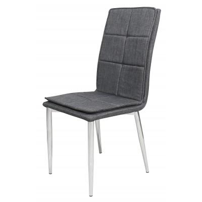 Καρέκλα μεταλλική με Ύφασμα Γκρι Πόδια Χρωμίου XS43CH