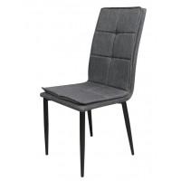 Καρέκλα μεταλλική με ύφασμα Γκρι Μαύρα πόδια XS43BL