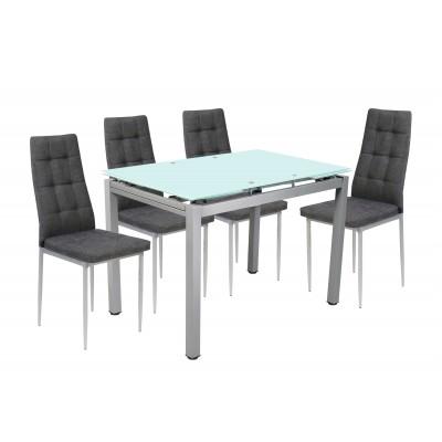 Σετ τραπέζι επεκτεινόμενο Αμμοβολή με 4 καρέκλες Γκρι Ύφασμα XS25
