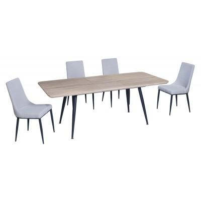 Σετ τραπέζι Rosa Sonoma 140(180)x80εκ. με 4 καρέκλες Nelly Γκρι Ανοιχτό