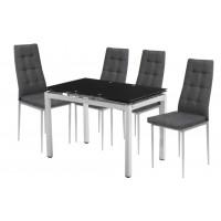 Σετ τραπέζι επεκτεινόμενο μαύρο με 4 καρέκλες γκρι XS25