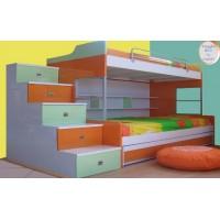 Κουκέτα ξύλινη με 3 κρεβάτια 196X118X170εκ
