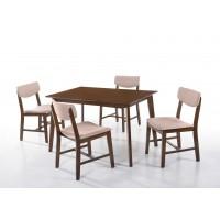 Τραπέζι ξύλινο 120x75εκ. με 4 καρέκλες ξύλινες με ύφασμα LW28 Walnut - Μπεζ