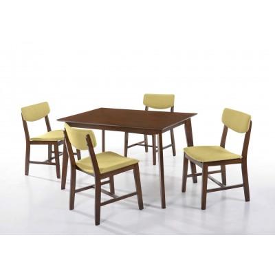 Τραπέζι ξύλινο 120x75εκ. με 4 καρέκλες ξύλινες με ύφασμα LW28 Walnut - Πράσινο