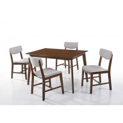 Τραπέζι ξύλινο 120x75εκ. με 4 καρέκλες ξύλινες με ύφασμα LW28 Walnut - Ανοιχτό Γκρι