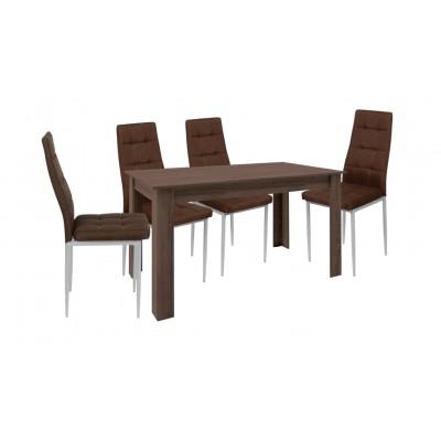 Σετ τραπέζι ξύλινο Βεγγε με 4 καρέκλες μεταλλικές επενδεδυμένες με ύφασμα XS02