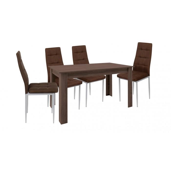 Τραπεζι με καρεκλες - Σετ τραπέζι ξύλινο Βεγγε με 4 καρέκλες μεταλλικές επενδεδυμένες με ύφασμα XS02  ΣΕΤ ΤΡΑΠΕΖΙ+ΚΑΡΕΚΛΕΣ , επιπλα - insidehome.gr