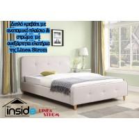 Ντυμένο διπλό κρεβάτι JN184 & στρώμα 150x200εκ. με ανεξάρτητα ελατήρια της Linea Strom