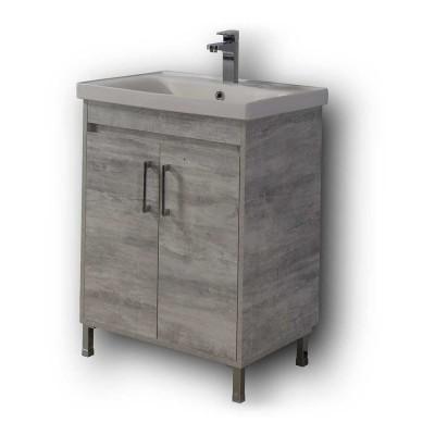 Πάγκος Μπάνιου με Νιπτήρα Savina Cement 65