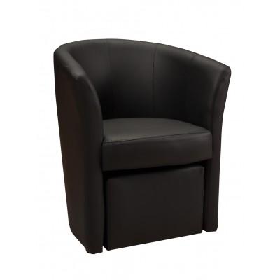 Πολυθρόνα με υποπόδιο 63,5X62,5εκ. DJERBA IM13 Μαύρο PU