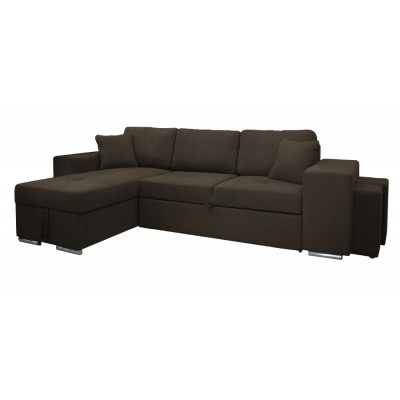 Γωνιακός καναπές-κρεβάτι με αποθηκευτικό χώρο κ 2 σκαμπό 273χ160εκ. IM06 PERLA Γκριζοκαφέ