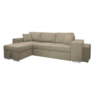Γωνιακός καναπές-κρεβάτι με αποθηκευτικό χώρο κ 2 σκαμπό 273χ160εκ. IM06 PERLA Μπεζ