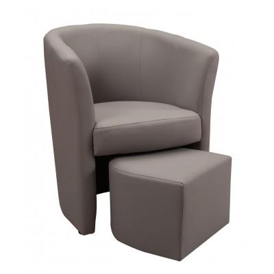 Πολυθρόνα με υποπόδιο 63,5X62,5εκ. DJERBA IM13 Γκρι PU