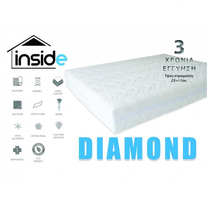 Στρώμα Diamond 140x200εκ. Στρώμα DIAMOND με bonnel springs 23εκ. ύψος, επιπλα - insidehome.gr