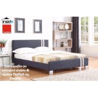 Ντυμένο διπλό κρεβάτι JN177 με στρώμα 160x200εκ. Candia