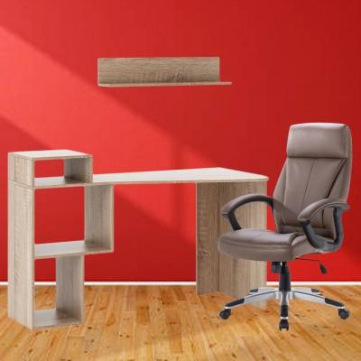 Σετ γραφείο-βιβλιοθήκη με ράφι τοίχου & καρέκλα γραφείου SP50A