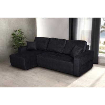 Γωνιακός καναπές κρεβάτι με αποθηκευτικό χώρο 236x146εκ. AMARETTO Μαύρο