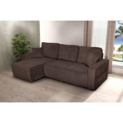 Γωνιακός καναπές κρεβάτι με αποθηκευτικό χώρο 236x146εκ. AMARETTO Καφέ