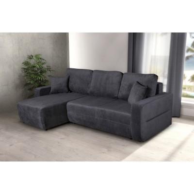 Γωνιακός καναπές κρεβάτι με αποθηκευτικό χώρο 236x146εκ. AMARETTO Γκρι