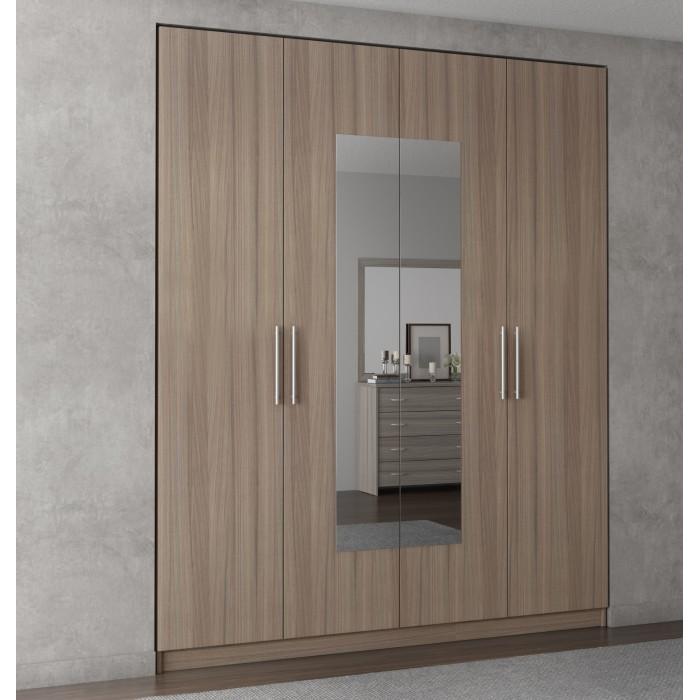 Ντουλάπα 4φυλλη με καθρέπτη 182χ60χ220εκ. POL10 ΝΤΟΥΛΑΠΕΣ, επιπλα - insidehome.gr