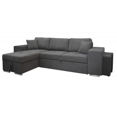 Γωνιακός καναπές-κρεβάτι με αποθηκευτικό χώρο κ 2 σκαμπό 273x160εκ. IM06 PERLA Γκρί