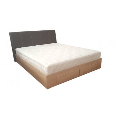 Κρεβάτι ξύλινο διπλό με 2 συρτάρια & ντυμένο κεφαλάρι POL54 Λάττε-Καφέ