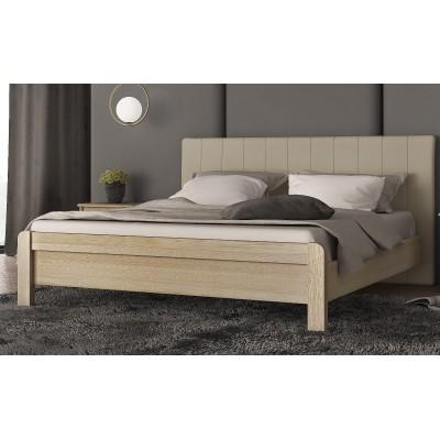 Διπλό κρεβάτι ξύλινο με ντυμένο κεφαλάρι POL57 Λάττε-Εκρου
