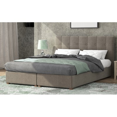 Ντυμένο διπλό κρεβάτι με αποθηκευτικό χώρο POL66 Μπεζ 160Χ200ΕΚ.