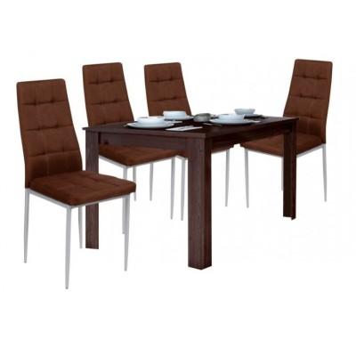 Σετ τραπέζι ξύλινο 120(+30)x70x80εκ.& 4 καρέκλες μεταλλικές XS03