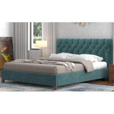 Ντυμένο διπλό κρεβάτι POL63 Μπλε 150x200εκ.