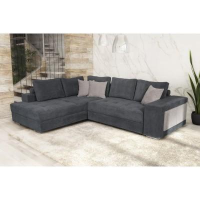 Karina Γωνιακός καναπές κρεβάτι με αποθηκευτικό χώρο & 2 σκαμπό 278x218εκ. Γκρι Αριστερή Γωνία