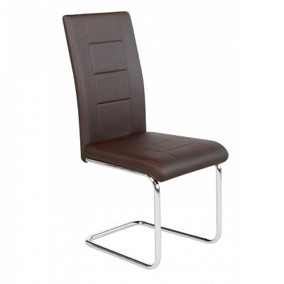 Καρέκλα μεταλλική επενδεδυμένη με τεχνόδερμα XS65 Καφέ