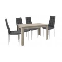 Σετ τραπέζι ξύλινο Olive με 4 καρέκλες μεταλλικές επενδεδυμένες με ύφασμα XS02