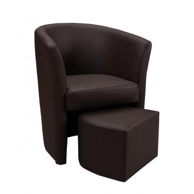 Πολυθρόνα με υποπόδιο 63,5X62,5εκ. DJERBA  IM13 καφέ PU