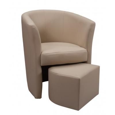 Πολυθρόνα με υποπόδιο 63,5X62,5εκ. DJERBA IM13 Μπεζ PU