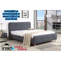 Ντυμένο διπλό κρεβάτι JN184 & στρώμα 150X200εκ. της Linea Strom