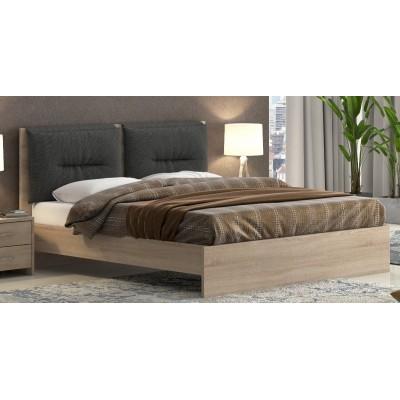 Διπλό κρεβάτι  POL08 Λάττε- Μαύρο 150x200εκ.