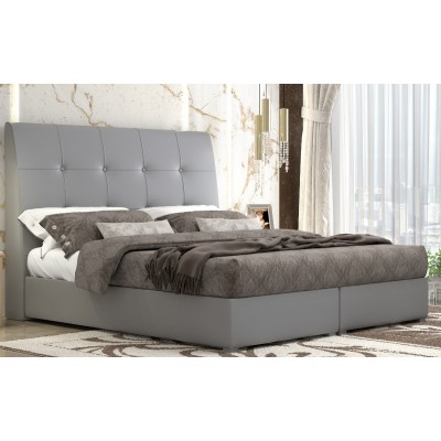 Ντυμένο διπλό κρεβάτι με αποθηκευτικό χώρο POL60 Γκρι