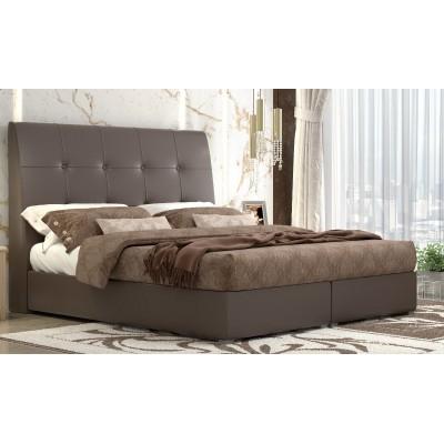 Ντυμένο διπλό κρεβάτι με αποθηκευτικό χώρο POL60 Καφέ