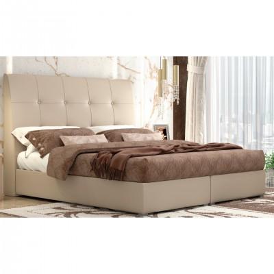 Ντυμένο διπλό κρεβάτι με αποθηκευτικό χώρο POL60 Μπεζ
