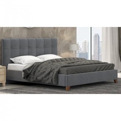 Ντυμένο διπλό κρεβάτι επενδεδυμένο με ύφασμα POL62 Γκρι Σκούρο 150X200EK.
