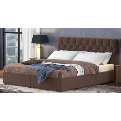 Ντυμένο διπλό κρεβάτι με αποθηκευτικό χώρο POL67 Καφέ  160Χ200εκ.