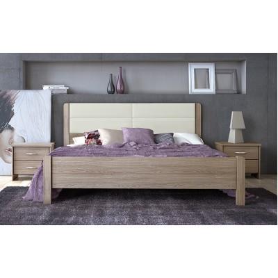 Κρεβάτι ξύλινο διπλό με δερματίνη POL45D 150x200εκ.