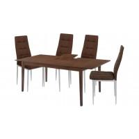 Σετ τραπέζι ξύλινο επεκτεινόμενο με 4 καρέκλες μεταλλικές με ύφασμα LW53S