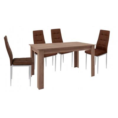 Σετ τραπέζι ξύλινο Μόκα με 4 καρέκλες μεταλλικές επενδεδυμένες με ύφασμα XS05
